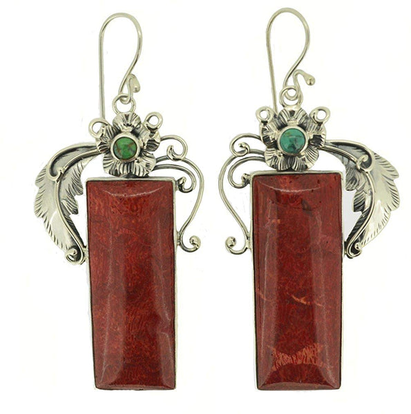 Turquoise Coral Flower Accented Earrings 925 Sterling Silver