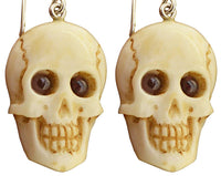 Garnet Skull 925 Sterling Silver Earrings