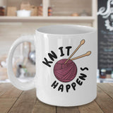 Knit Happens Knitting Needles Wool Arts Craft Novelty Printed Coffee Cup Mug Teaware Tea Brewed Gift Souvenir 16/24