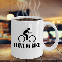 I love My Bike Bicycle Lover Printed Novelty Coffee Mug Gift Ideas Tea Cup Cafe Hot Drinks Gift Souvenir for Friends Family 26/3 Joed