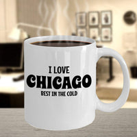 I love Chicago, Best in the cold Special Trip Visit Destination Place City Gift Ideas Coffee Mug Tea Cup Hot Drinking Cafe Cup 25/12