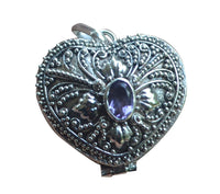 Prayer Poison Box Heart Shaped Amethyst Sterling Silver 925 Pendant