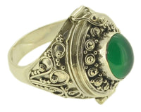 Handmade Bali Sz 8 Poison Box Green Dyed Agate 925 Sterling Silver Ring