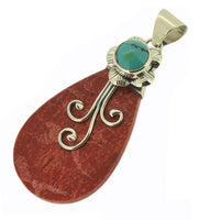 Flower Turquoise Coral Pendant Bali 925 Sterling Silver
