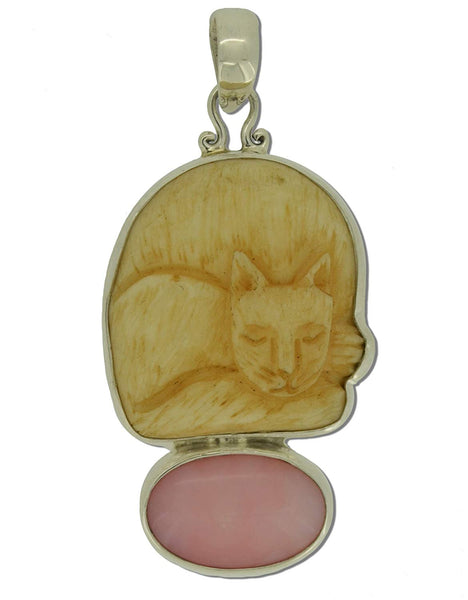 Sleeping Cat Pink Opal Sterling Silver 925 Pendant