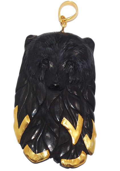 Black Forest Bear Pendant Gold Plated Bali 925 Sterling Silver Carved Buffalo Horn