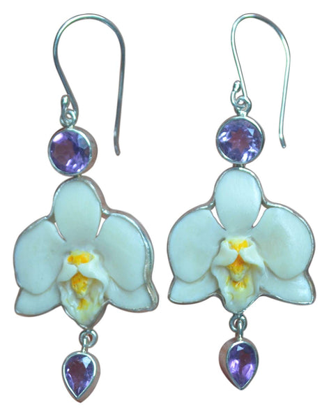 Handpainted Orchid Amethyst Sterling Silver 925 Earrings