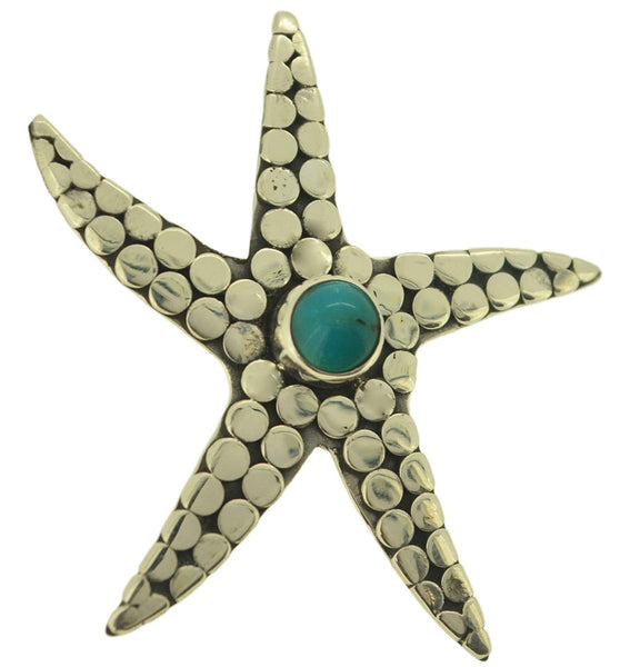 Beach Jewelry Sterling Silver Starfish Turquoise Pendant Necklace for Women