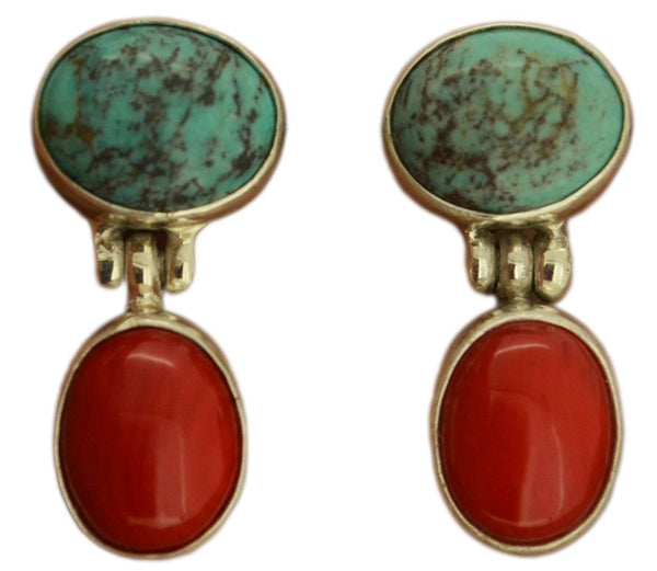 Turquoise Red Coral Sterling Silver 925 Earrings