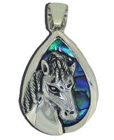 Pony Horse Sterling Silver Abalone Paua Shell Pendant Necklace Pendent Charm Girls Women's GIft