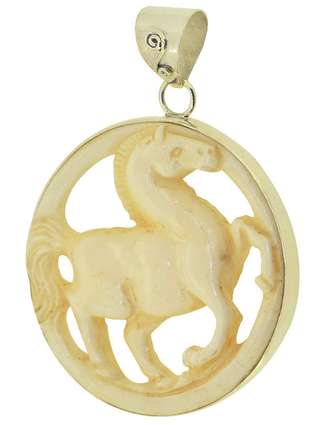 Jewelry with Soul Prancing Carved Horse Sterling Silver Pendant