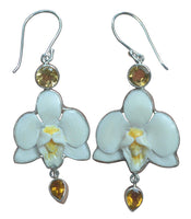 Handpainted Orchid Yellow Citrine Sterling Silver 925 Earrings