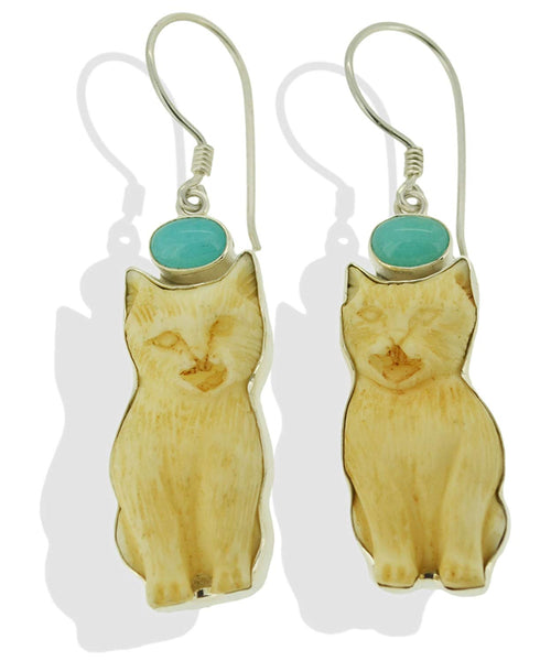 Cat Sitting Amazonite Sterling Silver 925 Earrings