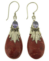 Pretty Tear Shaped Coral and Purple Cubic Zirconia Earrings 925 Sterling Silver