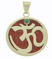 Jewelry with Soul Turquoise Buddhist Tibetan Om Balinese Omkara Genuine Coral Pendant Sterling Silver 925