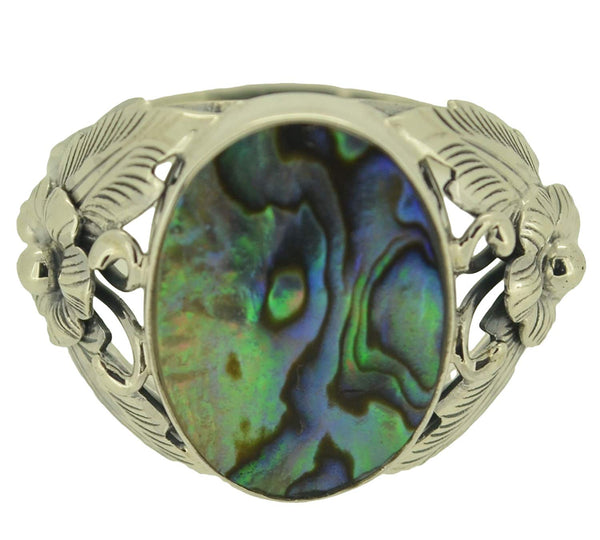 Sz 8 Abalone Paua Shell Sterling Silver 925 Ring