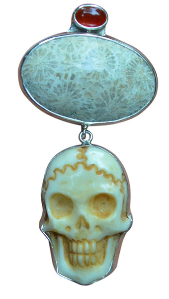 Skull Fossil Coral Carnelian Sterling Silver 925 Pendant