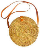 Round Rattan Bag Crossbody Handbag Handmade in Bali Ata Reed Linen Batik Lining Leather Strap Laariss