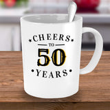 Cheers to 50 Years Anniversary Birthday Special Occassion Coffee Mug Gift Ideas Souvenir Giveaways Tea Cup Cafe 23/30