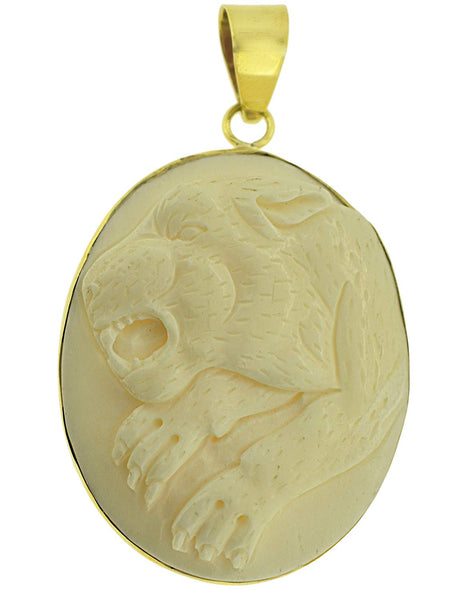 Cougar Bone Carved Brass Setting Pendant
