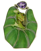 US Size 10 Lotus Leaf Cheeky Climbing Frog Purple Cubic Zirconia Silver 925 Ring