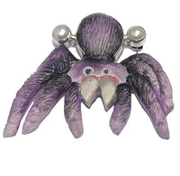 Amazing Handpainted Cultured Freshwater Pearl Tarantula Creepy Spider Sterling Silver 925 Pendant