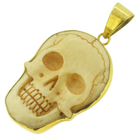 Skull Bone Carved Brass Setting Pendant