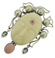 Goddess Face Blue Topaz Cultured Pearl Pink Opal 925 Sterling Silver Pin Pendant