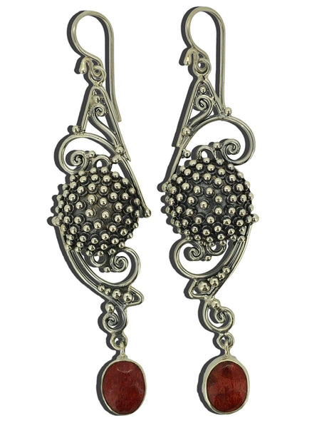 Natural Red Coral Sterling Silver 925 Earrings