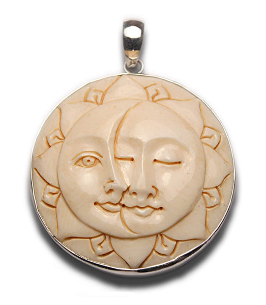 Two Lovers Sun Moon Faces Lotus Petal Pendant Sterling Silver 925
