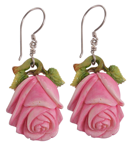 Gorgeous Red Roses Carved Bone Sterling Silver 925 Earrings