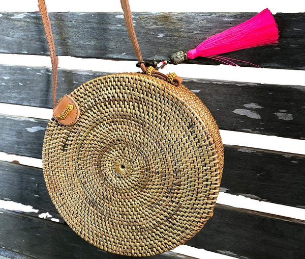 Round Rattan Bag Cross Body Handbag Handmade in Bali Ata Batik Lining Silk Tassel Buddha Leather Strap 20cm Laariss