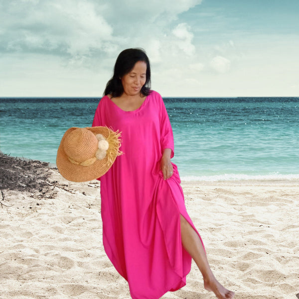 Kaftan Plus Size Pink Long Kaftan Dress, stylish, Elegant, Miami, lbiza, Holiday Dress,Evening dress,loose fit  KFL09