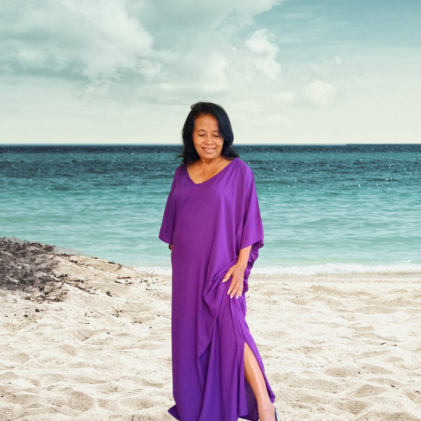 Purple Kaftan Dress Caftan Long simple Dress, stylish, Elegant, Miami, lbiza, Holiday Dress,Evening dress,loose fit  KFL09
