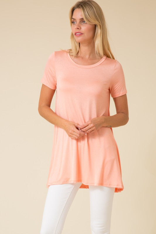 Let's Go Seaside Short Sleeve Tunic in Perfect Peach!