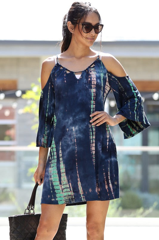 Passport To Paradise Off-Shoulder Tie-Dye Dress!