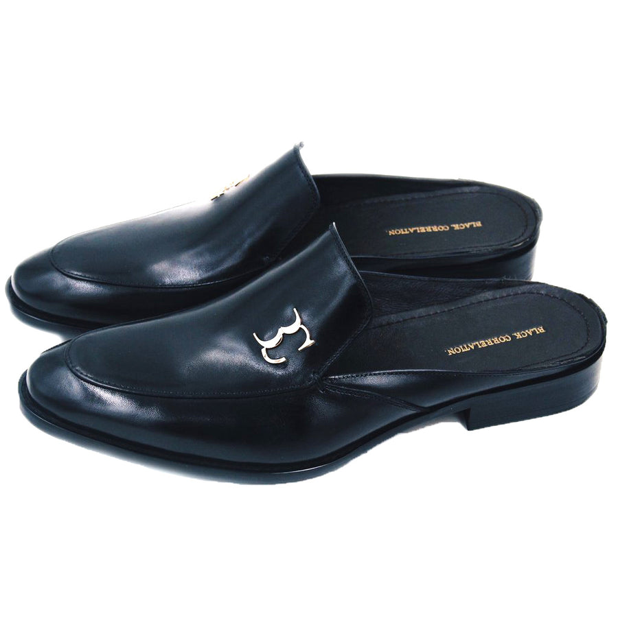 Black Correlation Leather Loafer