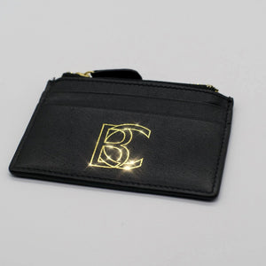 "Black Correlation ""Refined Thoughts"" Kangaroo Leather Card Case With Coin Pocket"