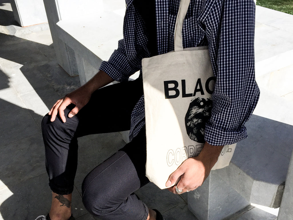 Black Correlation Canvas Tote Bag