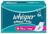 Whisper Maxi Fit Sanitary 15 Pads - Large Wings- Pack of 2