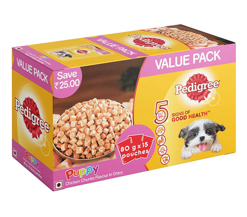 Pedigree Puppy Chicken Chunks in Gravy 15x80gm