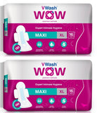 VWash Wow Sanitary Napkin Maxi Regular 16's Pads - Pack of 2