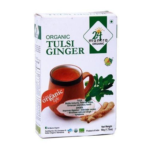 24 Mantra Tulsi Ginger Tea 50Gm - Prevent Cancer, Boost Immunity & Improves Digestion