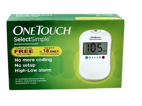 One Touch Select Simple Glucometer with 10'S Strips
