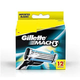 Gillette Mach 3 Manual  Shaving Razor Blades (Cartridge) 12's pack