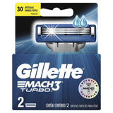 Gillette Mach 3 Turbo Manual Shaving Razor Blades (Cartridge) 2's pack