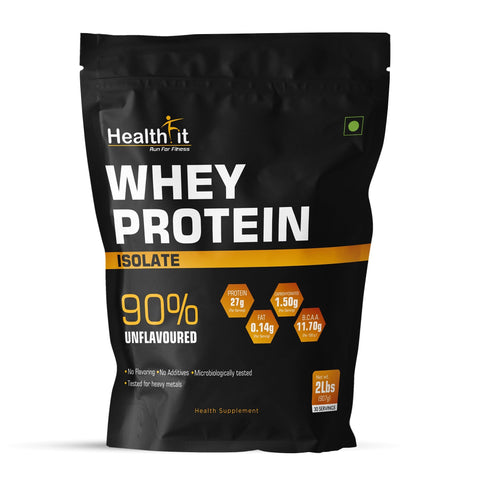 Healthfit Whey Protein Isolate, 90% Unflavouredn2Lbs ( 907GM,30 Servings )