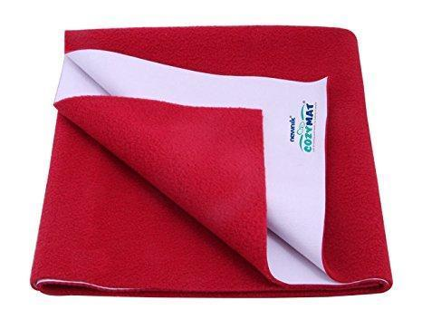 Newnik Cozymat Soft, Water-Proof & Reusable Mat (Size: 70Cm X 50Cm) Maroon, Small
