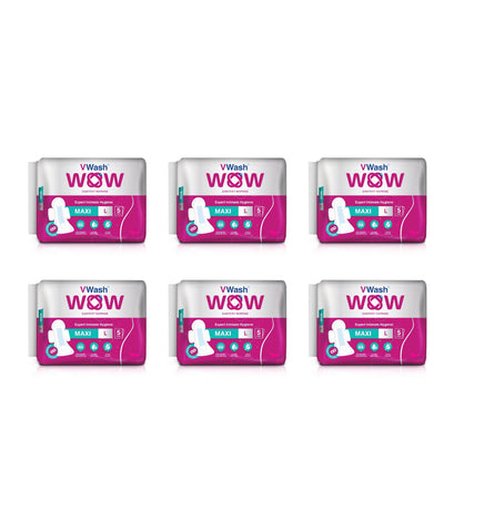 Vwash Wow Sanitary Napkin Maxi L 5 - Pack Of 6