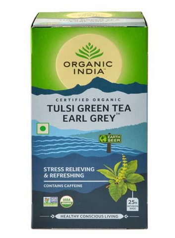 ORGANIC INDIA TULSI GREEN EARL GREY TEA SACHETS 25- Pack of 2